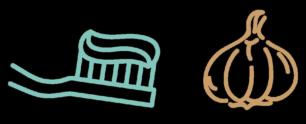 Knoflookgeurtjes en tandenpoetsen